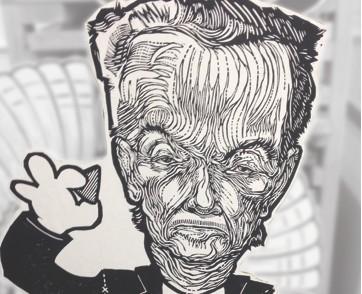 Jack Metcalf woodcut print of Bobby Lee Springfield