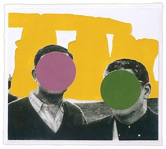 John Baldessari, Stonehenge (With Two Persons) Yellow, edition 19/60, 2005, mixografia on handmade paper, 29 x 32 inches, from the Collections of Jordan D. Schnitzer and His Family Foundation.